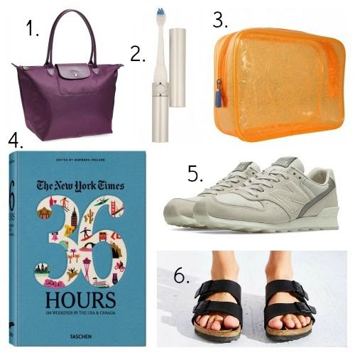 Longchamp Tote - Travel Sonic Toothbrush - F1 Quart Bag - New York Times Travel Book - New Balance Sneakers - Birkenstock Sandals