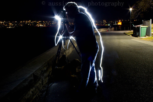 Andrew (blind Photographer) being 'Light Painted'