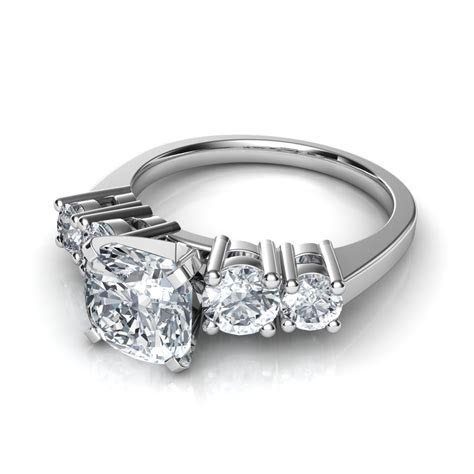 5 Stone Cushion Cut Diamond Engagement Ring Natalie