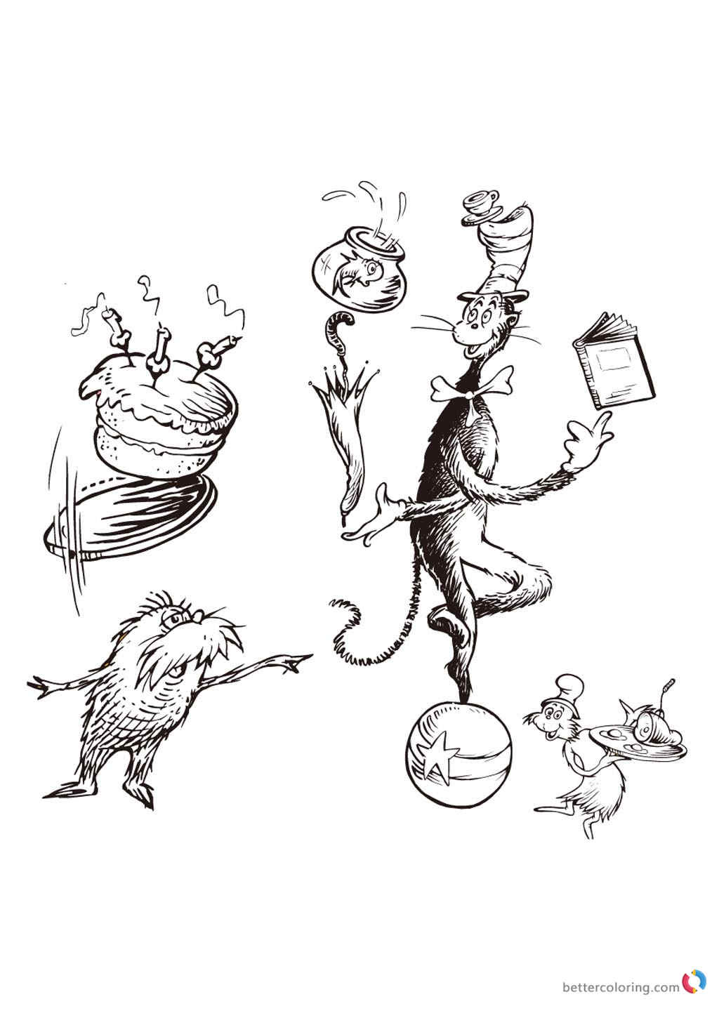 Dr Seuss coloring pages happy birthday card - Free ...