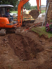 Digging out the septic tank