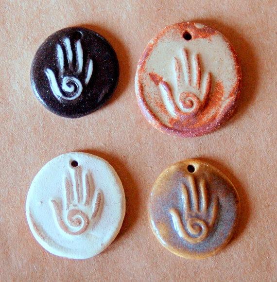 4 Handmade Ceramic Beads  Hamsa Beads  Spiral Hand by beadfreaky, $10.00