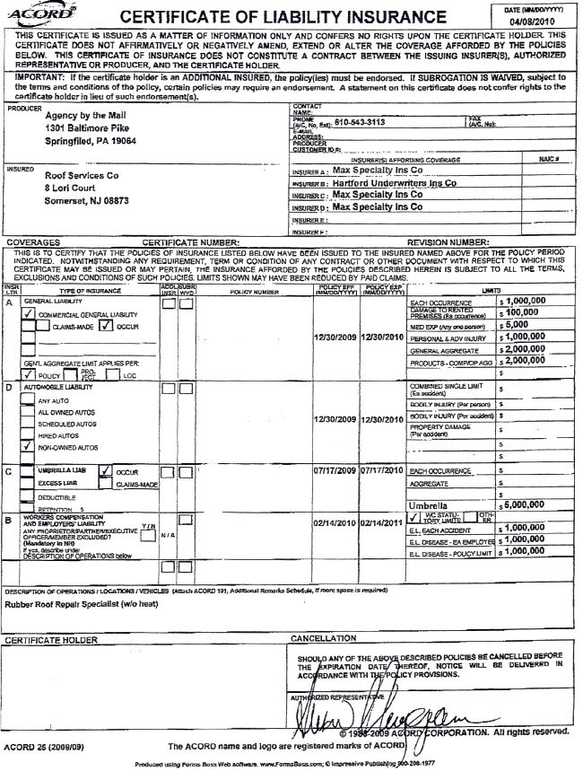 Liability Insurance: Liability Insurance Certificate Holder