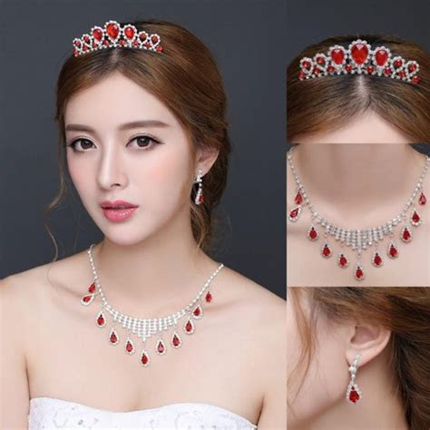 jewels, red jewelry set, crowns earrings necklace, cheap