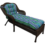 Blazing Needles 74-inch by 19-inch U-Shaped Outdoor Tufted Chaise Lounge Cushion - Pike Azure