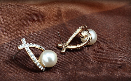 Gold and Silver Crystal Pearl Stud