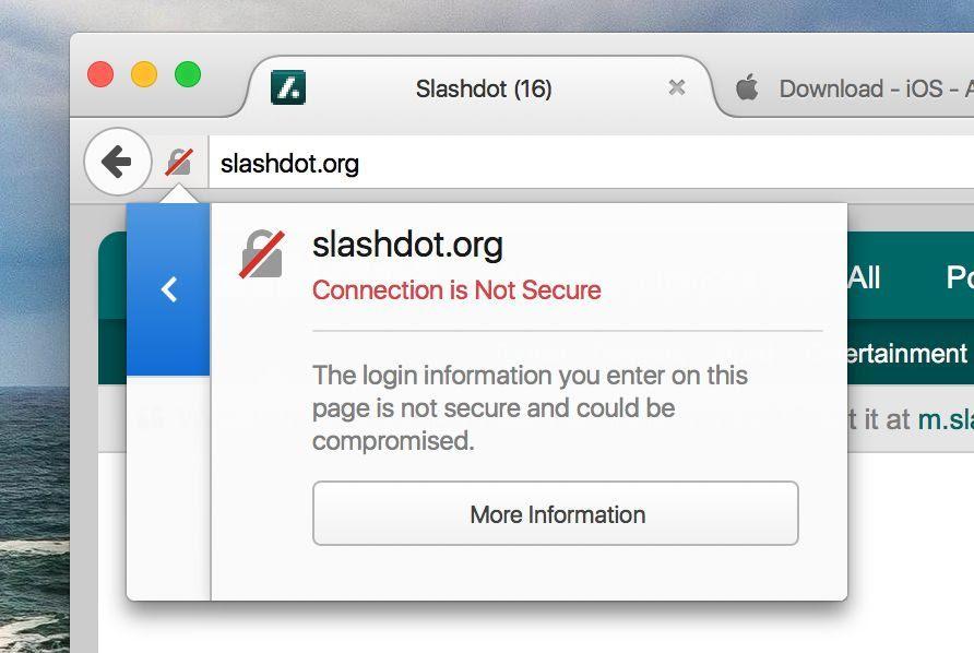Aviso de que un sitio web HTTP con campo de contraseña no es seguro para el usuario en Firefox Nightly