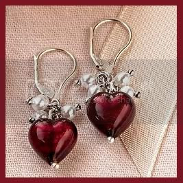 Murano Heart Earrings from Red Envelope