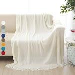 ALPHA HOME Soft Throw Blanket – 50′′ x 60′′ Ivory