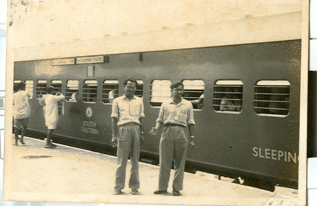 Dad with a friend at Tuni on the 3 Up Howrah - Madras Mail. 16Oct61. Uploaded by Arnab Acharya.