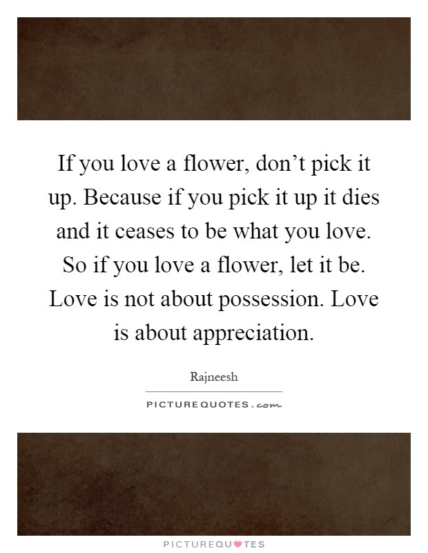 If You Love A Flower Dont Pick It Up Because If You Pick It