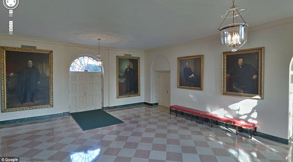 In the East Garden Room hand protraits of former presidents (from left to right) of Chester Alan Arthur, Millard Fillmore, Calvin Collidge and Grover Cleveland