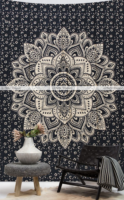 Twin Size Black Gold Boho Tapestry Indian Mandala Tapestries Wholesale Wall Hanging