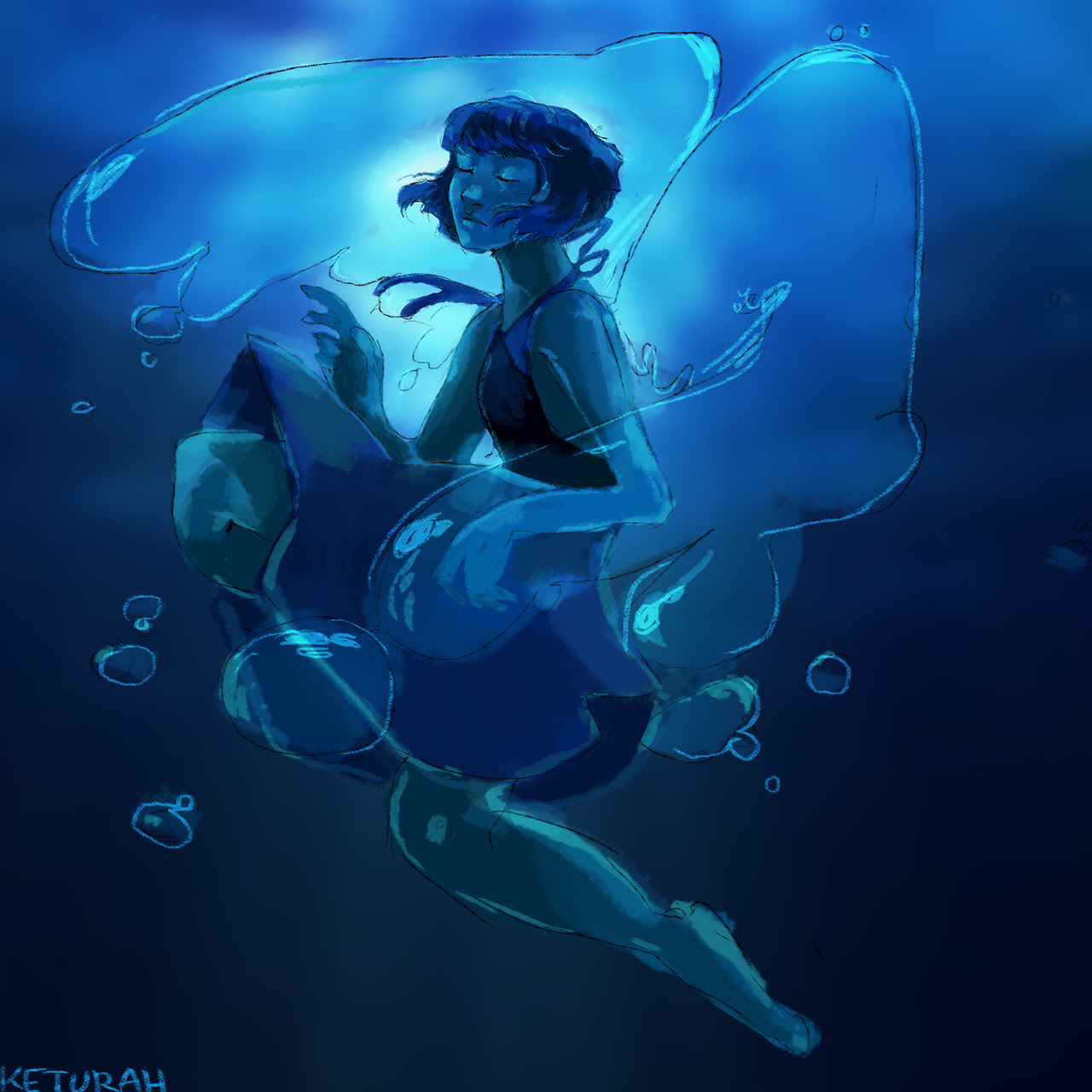 My baby Lapis as she's obviously sassiest gem. I hope to draw her cleaner / nicer next time. ALSO YES SHE HAS WATER WINGS UNDER WATER??????