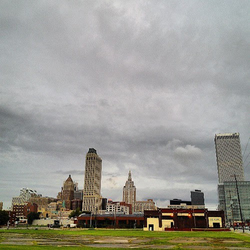 #tulsa #skyline #clouds if you look really close you can see the red #neon MAYO rooftop sign