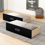 South Shore Induzy Rustic Oak and Matte Black Drawers on Wheels (Set of 2)