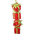 National Tree 34 inch Red Tinsel Gift Stack with 50 Clear Lights