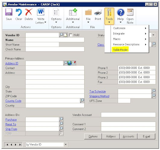 Using The Table Finder Tool In Dynamics GP To Determine Where The Data Resides In The Database