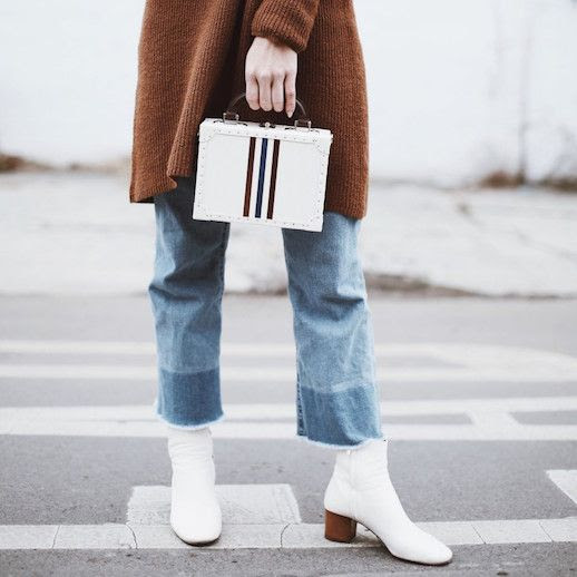 Le Fashion Blog Long Brown Knit Sweater Cropped Two Toned Jeans White Box Bag White Boots Via Happily Grey