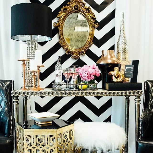 makeup dresser bedroom gold mirror fur ottoman table black lamp urban glam black and white stripe wallpaper shop room ideas
