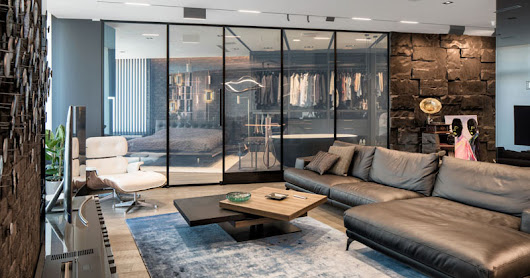 This Modern And Masculine Apartment Has A Smart Glass Wall That Can Hide The Bedroom From View