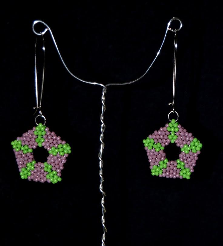 Pentagon peyoted seed bead earrings