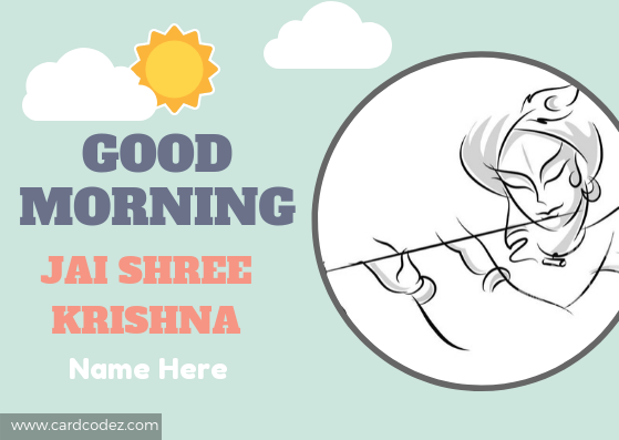 Good Morning Jai Shree Krishna Greeting Card With Name Card Codez