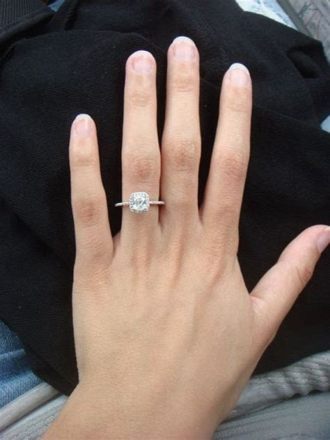 Cushion Cut Engagement Rings On Finger 21   My Dream