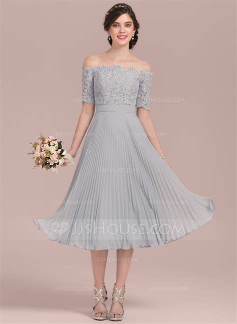 A Line/Princess Off the Shoulder Tea Length Chiffon Lace