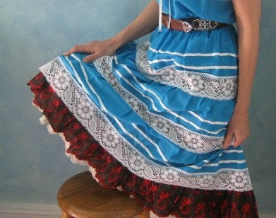 Vintage Mexican Dress with Ribbon and Lace - Pretty Blue Mexican Dress with Tiered skirt and Off the Shoulder Appeal