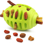 Fluffy Paws Pet Treat Toy Rugby Rubber Pet Toy Durable Hollow FeedBall for Dog (Dental Treat and Bite Resistant), Green
