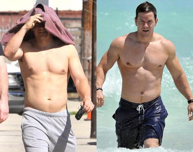"""Mark Wahlberg: muitas mudanças de corpo ao longo da carreira. Na foto, ator foi clicado pouco durante um período de ganho de massa e, logo depois, durante o período de """"secagem"""" (Foto: Reprodução)"""