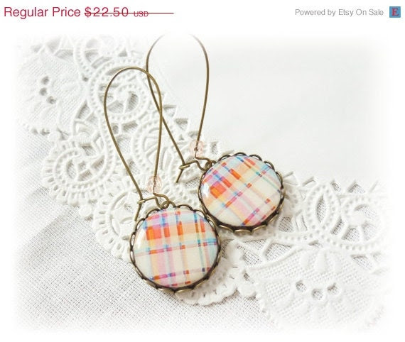 40 OFF SALE Plaid earrings, gift for her, light colors