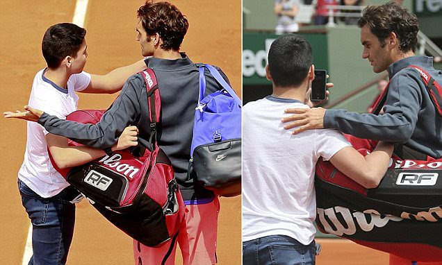 Roger Federer angered by French Open security as an intruder manages to grab a selfie on