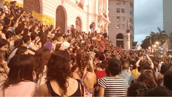Women protesting in front of the National Assembly in Rio de Janeiro, Oct. 29, 2015.