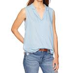 NYDJ Women's Sleeveless Button Top Blue