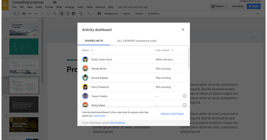 Google's G Suite is getting a new activity dashboard to show who read your files