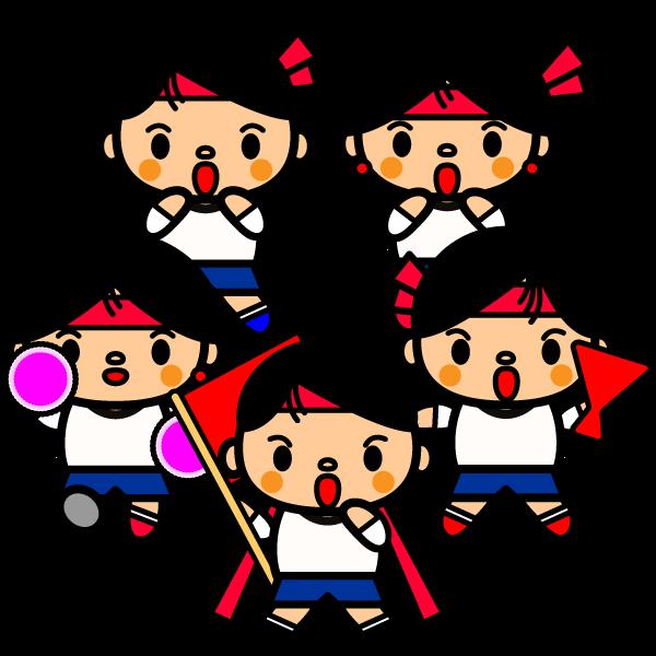 かわいい運動会応援団の無料イラスト商用フリー オイデ43