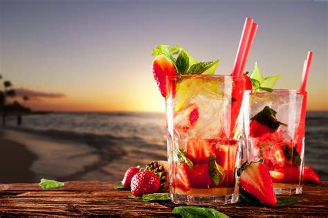 Wallpaper cocktails, tropical, beach, fruit, strawberries