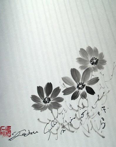 コスモス秋桜 水墨画の描き方 水墨画の描き方