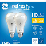 GE Refresh Light Bulbs, LED, Daylight, 17 Watts - 2 bulbs