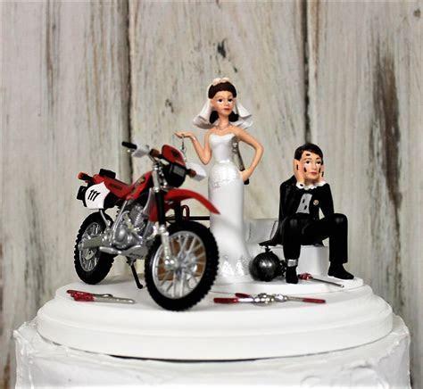 Motorcycle Wedding Cake Topper Bride and Groom Honda Dirt