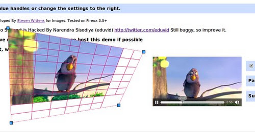 World's First Projective HTML5 Video using Canvas API #canvas #html5 #video #ogg