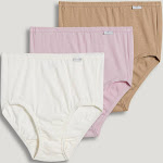 Jockey Plus Size Elance Brief - 3 Pack in Ivory/Light/Pink Shadow, Size 9, Cotton