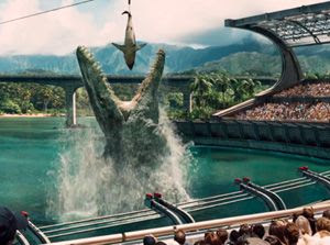 A dinosaur amusement park is successfully (and foolishly) opened in JURASSIC WORLD.