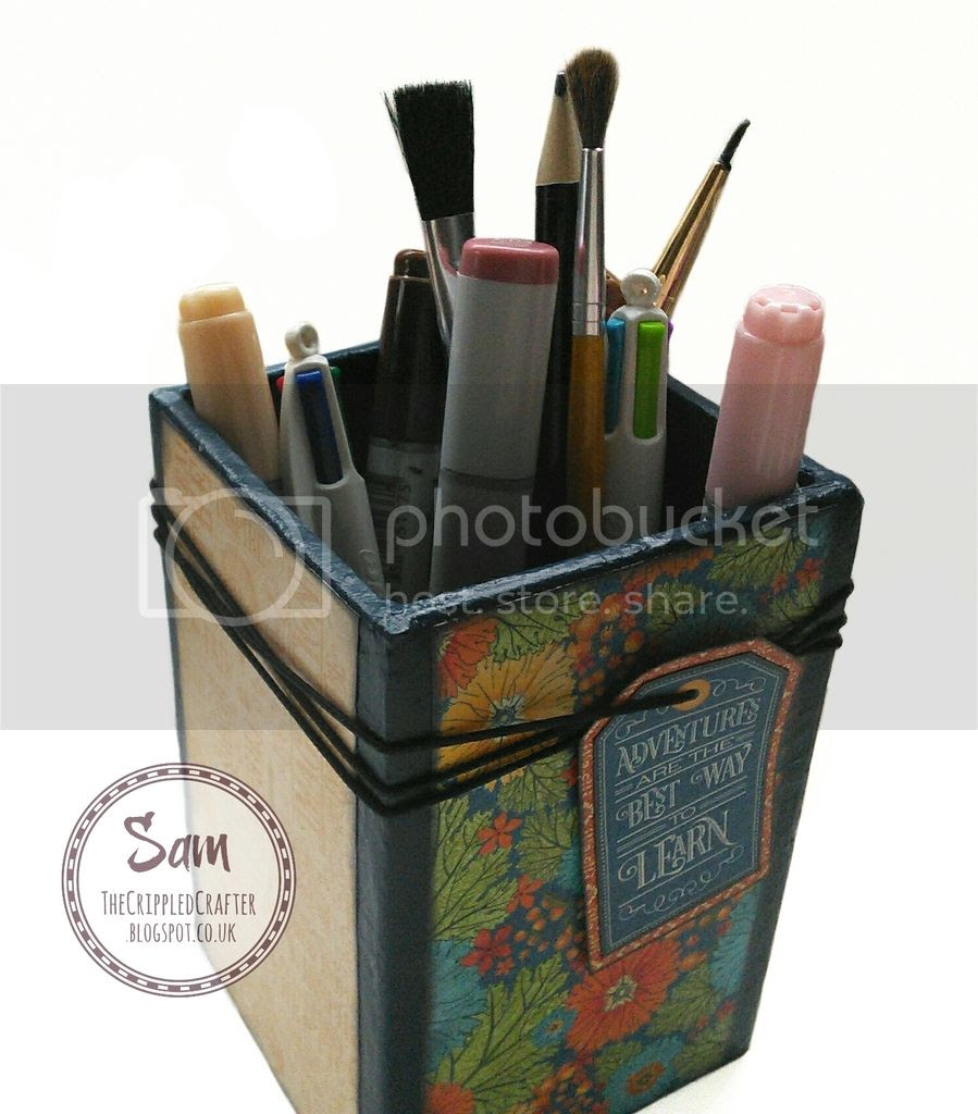 "Remote Holder & Pen Pot Set using Graphic 45 papers from the ""World's Fair"" collection.  Made by The Crippled Crafter"
