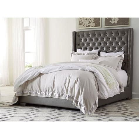 ashley furniture queen upholstered tufted bed