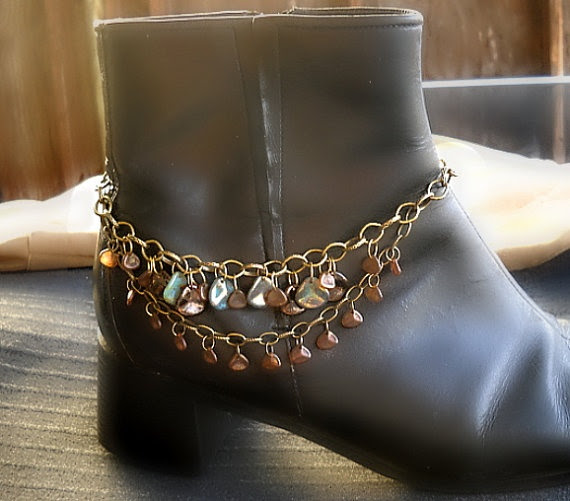 Boot Bracelet - Anklet - Brass Chain dangles Czech Glass Rose Petal Beads on two strands for a Great Boho Chic look by ALCustomJewelry, $31.49
