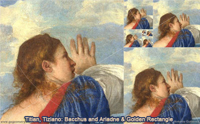 Titian or Tiziano: Titian or Tiziano: Bacchus and Ariadne and Golden Rectangle, Droste Effect, HTML5 Animation