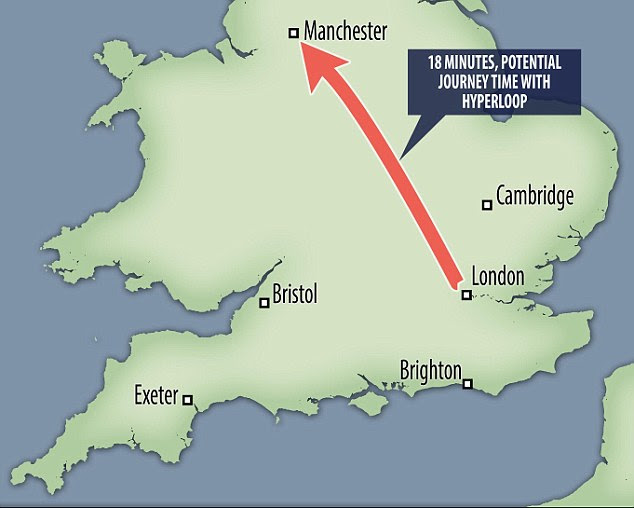 The head of Hyperloop One said travelling at such high speeds could enable passengers and freight to make the journey from London to Manchester in 18 minutes (pictured)